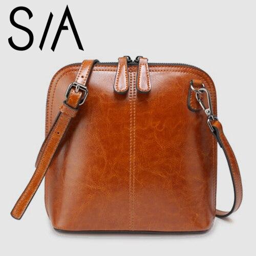 New 100% Genuine Leather Small Bag Famous Brands Women's Cross-body Messenger Bag Handbag Shell Shoulder Bag Vintage Handbags