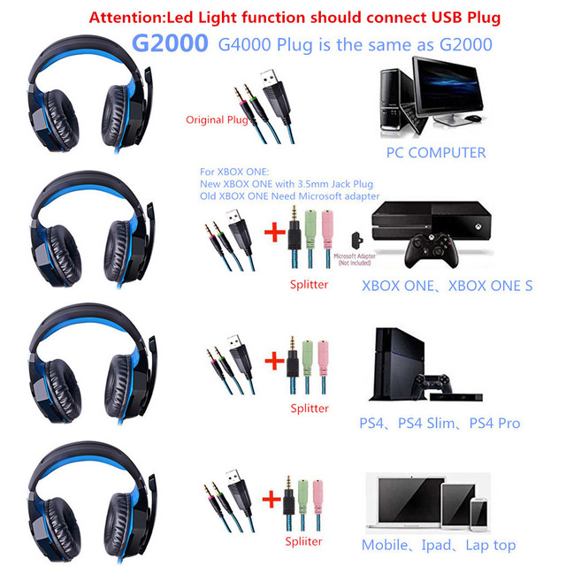 G2000 G9000 Gaming Headsets Big Headphones with Light Mic 6