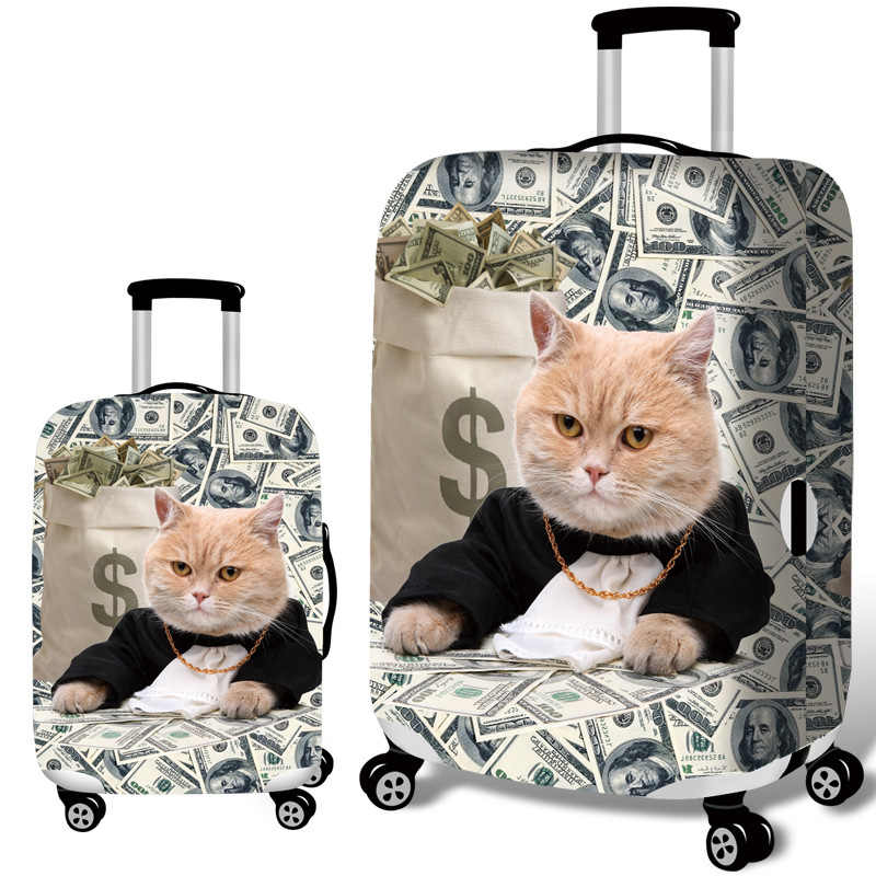 REREKAXI נסיעות מזוודה לשמירת כיסוי חתול מטען אבק הגנה אלסטי מקרה מכסה עבור 18-32 אינץ עגלת נסיעות אבזרים