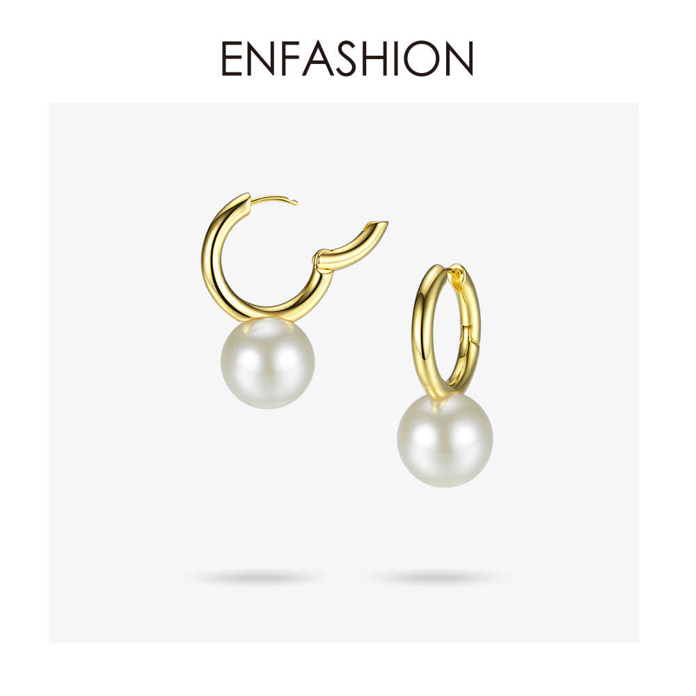Enfashion Big Pearl Drop Earrings For Women Gold Color Circle Earings 2018 Fashion Jewelry Jewellery Doucle D'oreille EF181080