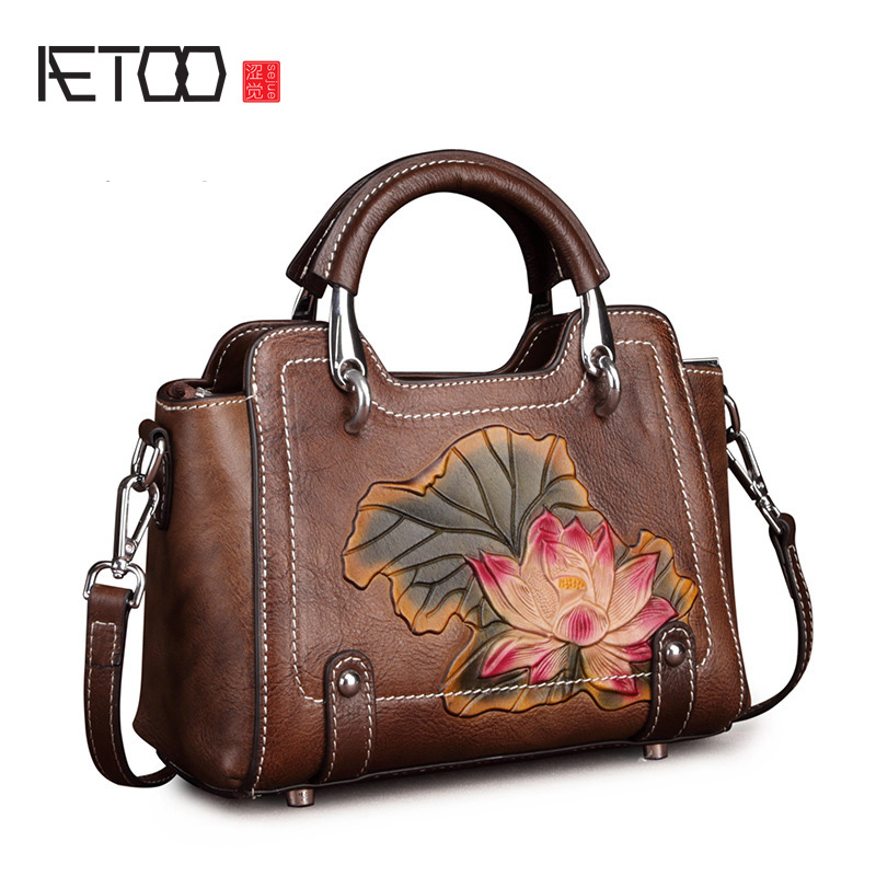 AETOO Female retro leather handbag, casual shoulder oblique strap lady postman bag, simple head-layer cowhide woman bagAETOO Female retro leather handbag, casual shoulder oblique strap lady postman bag, simple head-layer cowhide woman bag
