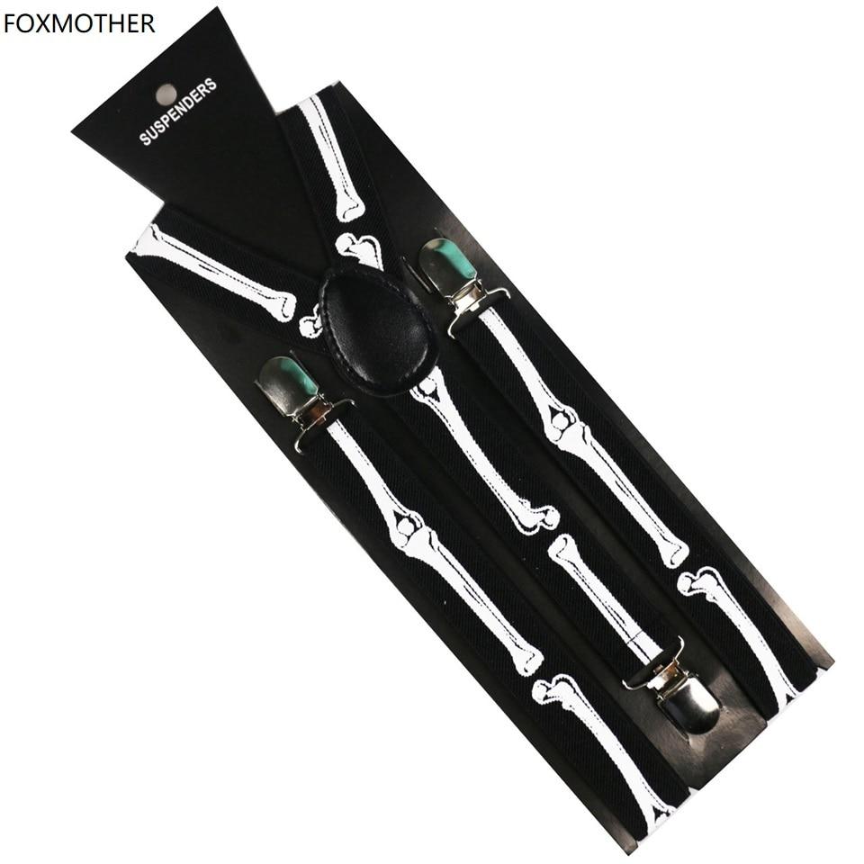 FOXMOTHER New Hip Hop 1 Inch Wide Clip On Adjustable Black Bone Skull Suspenders Braces Mens Womens