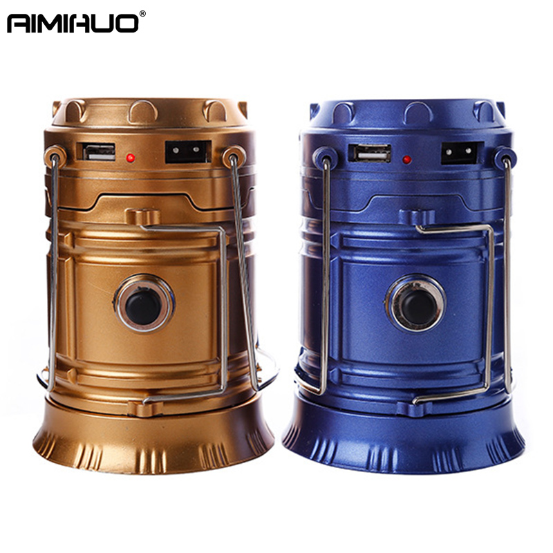 AIMIHUO Rechargeable Camping Solar lantern LED Outdoor Rechargeable Camping Light Emergency Portable USB Rechargeable Lantern
