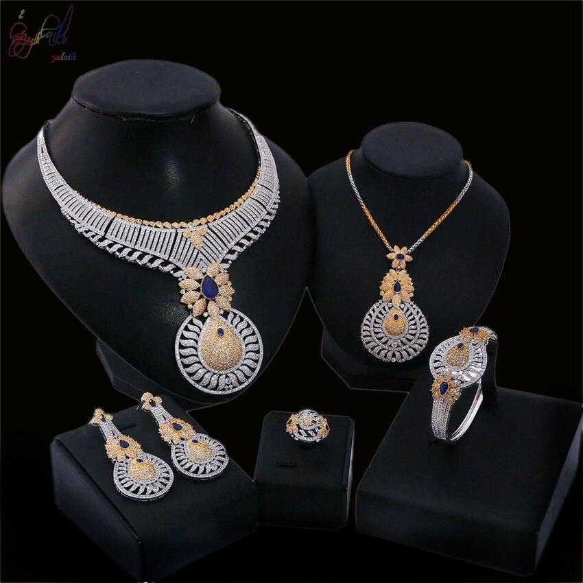 Yulaili 5pcs Big Pendant Luxury Fashion Two Necklace Bracelet Earring Ring Jewelry SetYulaili 5pcs Big Pendant Luxury Fashion Two Necklace Bracelet Earring Ring Jewelry Set