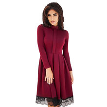 High Neck Lace Hemline Skater Dresses 2018 New Autumn Elegant Long Sleeve Party  Dress Women Femme Black Vestidos S-XL 71227722f