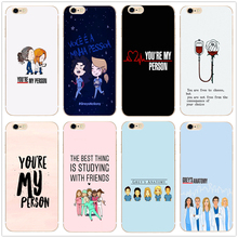 Greys Anatomy hard clear fashion phone case cover for Samsung s8 s9plus S6 S7Edge S5 for iPhone 7 6s 8plus 5s 5c 4 X XS XR XSMAX customized diy phone case printed hard clear cover case for apple iphone x xs 8 8plus 7 6splus se 5 for samsung s8 s8plus s7 s6