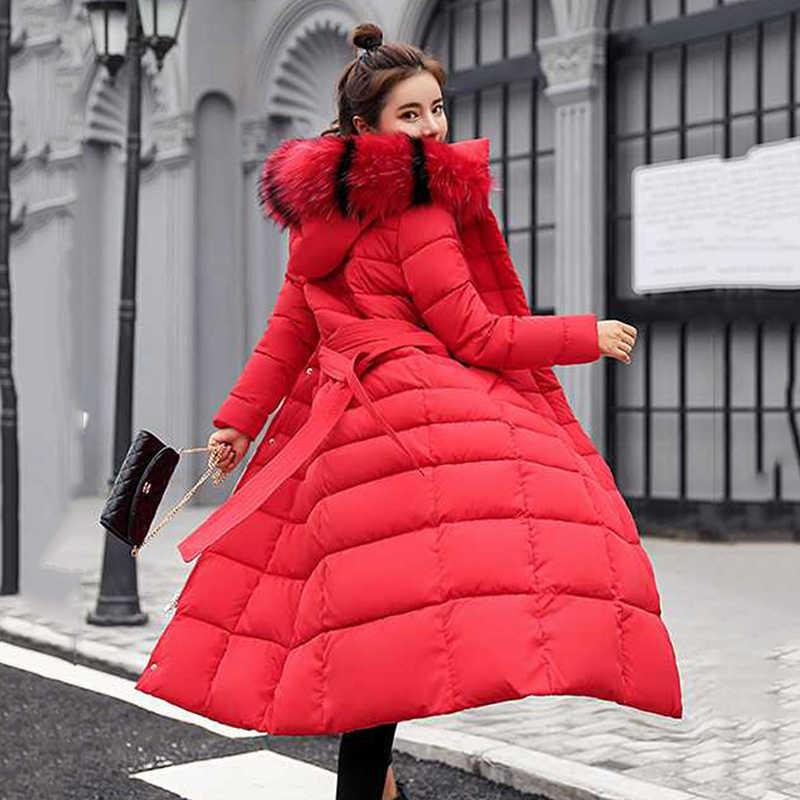 Зимняя женская верхняя одежда 2018 НОВАЯ тонкая средняя длинная толстая теплая Женская пуховая куртка с капюшоном с меховым воротником Большие размеры женские парки Cw110