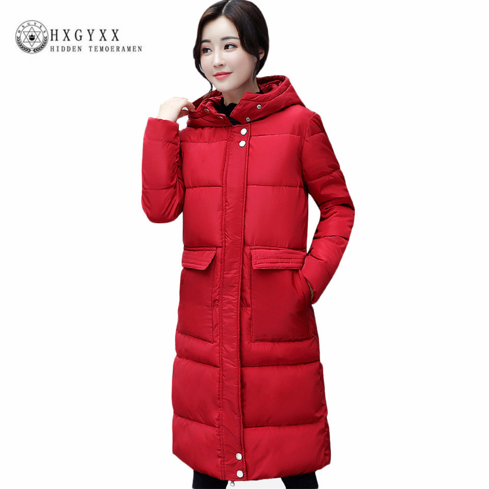 2017 Winter Warm Parkas Women Long Cotton Padded Quilted Jacket Solid Color Pocket Thick Warm Wadded Coat Quality Outwear Okb63 2017 new women winter coat long quilted jacket thick warm solid color cotton parkas female slim hooded zipper outwear okb88