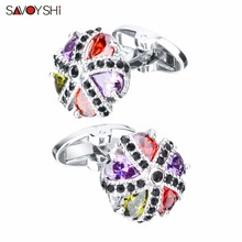 SAVOYSHI Luxury Crystal Five Petals Flower Colorful Zircon Stone Cufflinks For Men High Quality Shirt Cuff links Wedding Gift