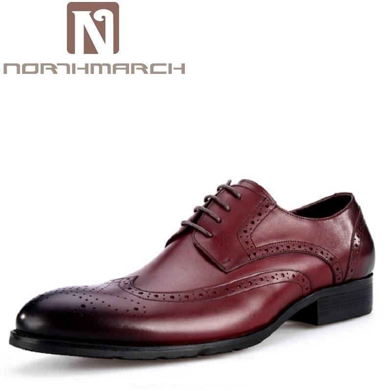 NORTHMARCH Custom Handmade Leather Men Shoe Derby Pointed Toe Leather Fashion Carved Mens Flats Shoes Red Wine zapatos de hombre цена