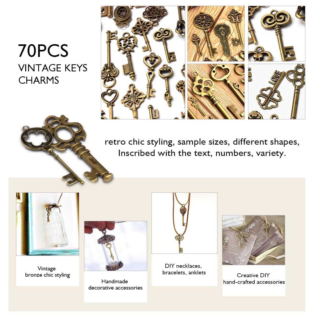 DIY 1 Set of 70 Antique Retro Vintage Old Look Bronze Keys Fancy Heart Bow Pendant Large Skeleton Antique Bronze Vintage Key