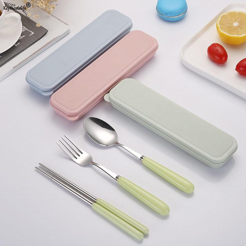 Ceramic Handle Dinnerware Set Stainless Steel Cutlery Travel Kids Adult Tableware Camping Picnic Fork Set Kitchen Tools BA