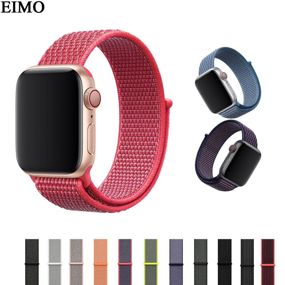 EIMO Strap bracele for apple watch 4 44mm 42mm Sport loop band Iwatch 4 3 2 1 42/38mm correa wrist Belt nylon weave Watchband eimo sport loop strap correa for apple watch band 42mm 44mm 40mm 38mm iwatch series 4 3 2 1 woven nylon bracelet wrist watchband