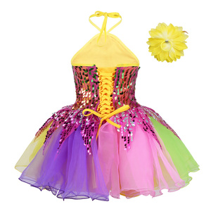 Image 2 - Tenue de danse pour enfants filles, robe Tutu à fleurs, col licou, paillettes colorées, salon de Ballet pour enfants