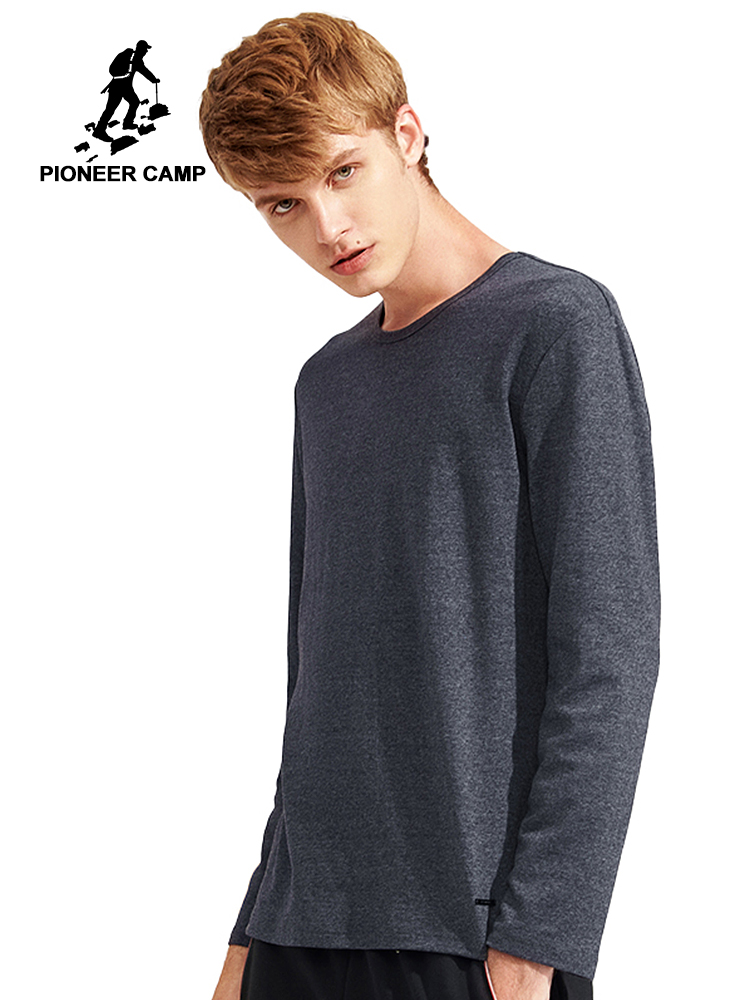 Pioneer Camp Spring Long Sleeve   T     Shirt   Men brand clothing quality Slim Fit Men Casual Long TShirts Long-Sleeve   T  -  Shirt   men