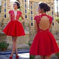 Red A-Line Chiffon Cocktail Dresses 2017 Scoop Short Cap Sleeves Applique Lace Mini Prom Dresses Short Backless Party Dresses