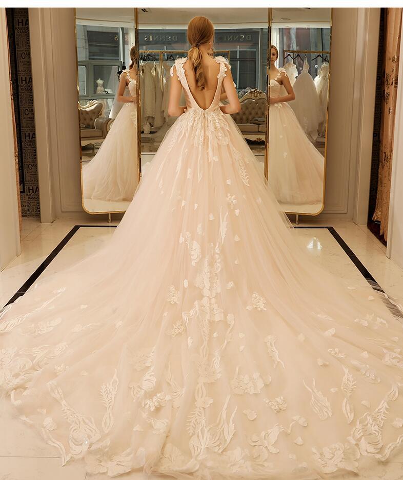 Sexy Deep V-Back Champagne Sweetheart Wedding Dresses 2017 Sleeveless A Line Spaghetti Straps Bridal Gown Vestidos De Novia