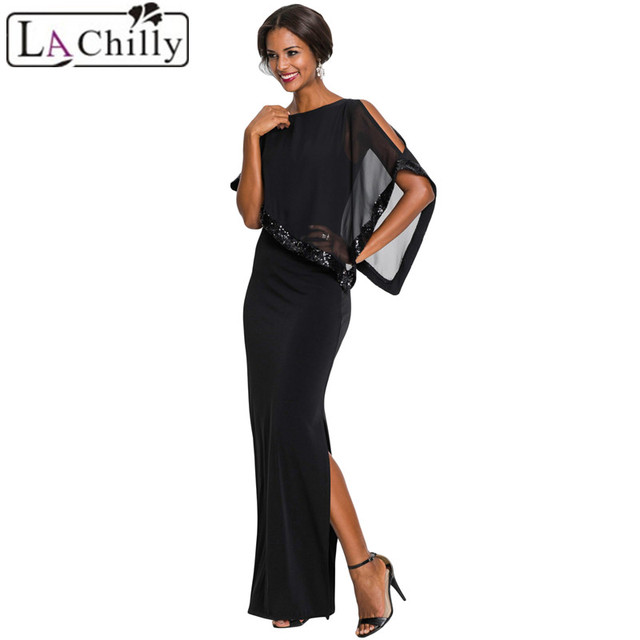 57a9ff685549 La Chilly Elegant Christmas Dress Women Maxi Dress Summer Black/Red Sequin  Mesh Overlay Poncho Party Dresses Robe Femme LC610378