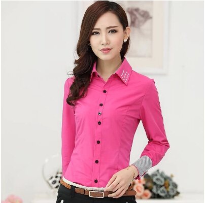 41ec24b04429 2015 New Office Lady Formal Shirts Stripe Patchwork Slim Work Wear Elegant  Shirts Blouses Hot Drilling Turn-down Collar Tops