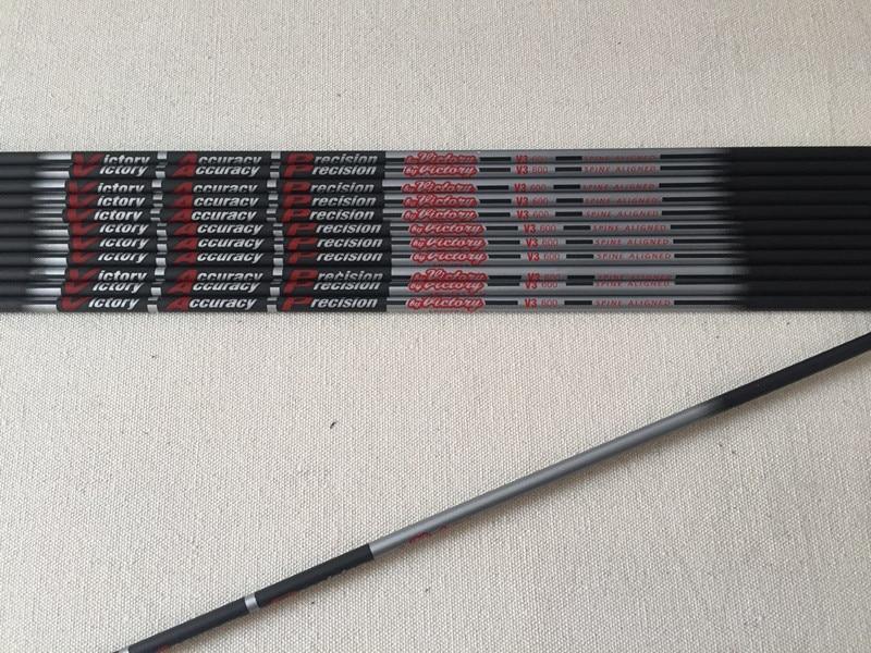 New 12pcs lot Good Quality V3 Carbon Arrow Shaft ID4 2mm Spine400 600 800 900 30