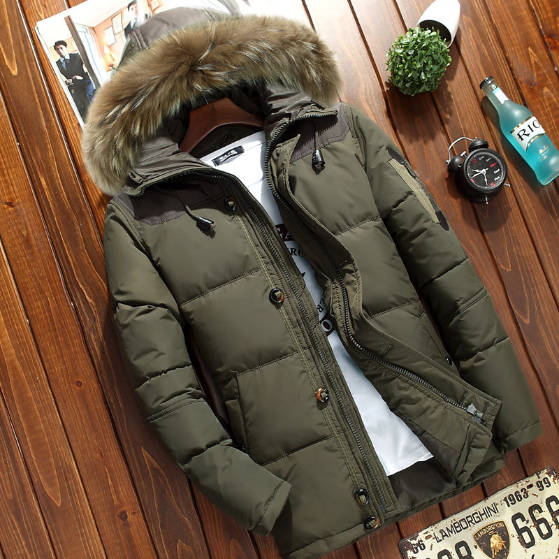 Winter Men's Thick Hooded Down Jacket Casual Mens Solid Color White Duck Down Coat with Fur Collar Male Warm Zipper Outwear Top