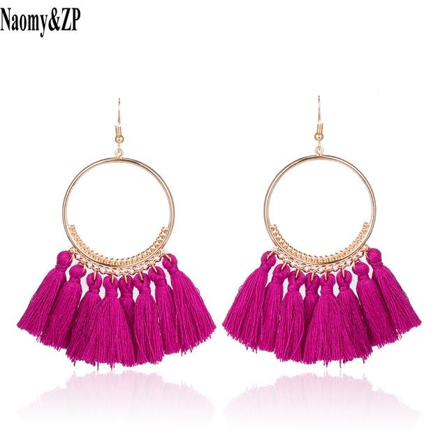 Naomy&ZP Vintage Bohemian Handmade Cotton Tassel Earrings for Women Long Big Ethnic Fringe Drop Earrings Party Jewelry Bijoux 1