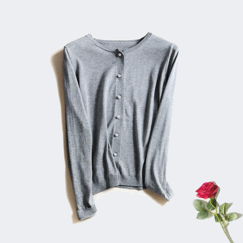 Women Solid Cardigans long sleeve basic sweater 15 Cashmere 85 Natural Silk knitted sueter top 2016