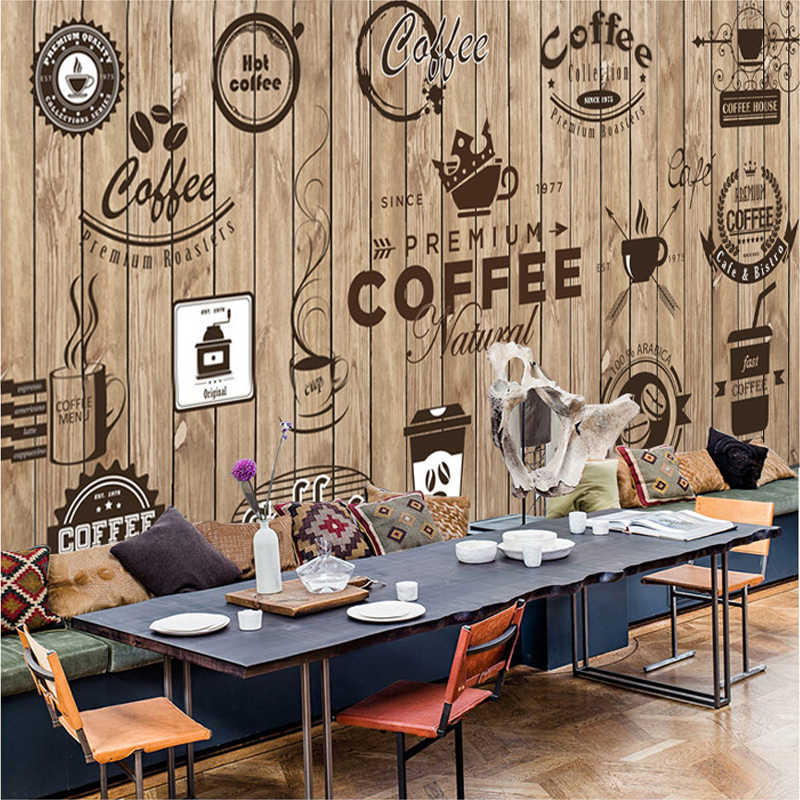 Custom Any Size 3D Wall Mural Wallpaper Retro Nostalgic Wood Grain Cafe Mural Paintings Living Room Wallpaper Papel De Parede 3D
