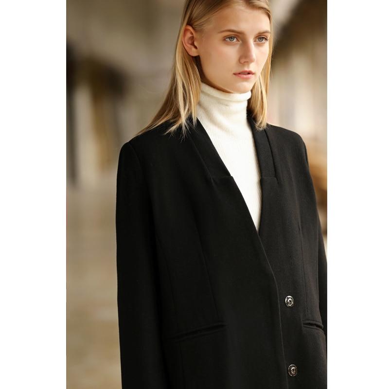 Double D'hiver Black Amii grey Coat V Wool Laine Coat Minimaliste Breasted 2018 Femmes Femelle Vestes Causalité Manteau Solide En De Longue Col r0Hx7wqTr