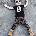 2017 New Fashion Rock style Clothing Set kid's boys Cash Dollar printed children t shirts+ harem pants 2 piece set retail