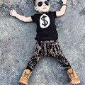 2017 Nuevo estilo de Rock de Moda Sistema de la Ropa del cabrito niños de Efectivo dólar impreso niños camisetas + harem 2 unidades set venta al por menor