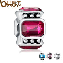 Original Big Hole 925 Silver Dark Pink Crystal Charm Fit Pandora Bracelet Necklace Authentic Accessories