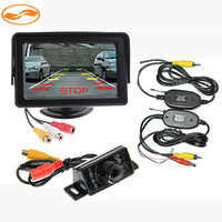 2.4GHz Wireless Transmitter and Receiver Kit + Car Backup Reverse IR LED Camera + 4.3 Inch LCD Car Rearview Monitor