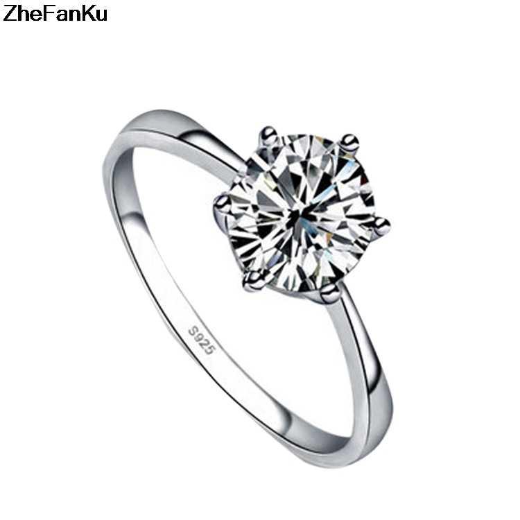 คลาสสิกหกกรงเล็บ6มิลลิเมตรเพทายแหวนแต่งงานสำหรับผู้หญิงเครื่องประดับสีเงินแหวนหมั้นหญิงAnel Bijouxจัดส่งฟรี