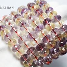 Vente en gros (26 perles/ensemble) 6 7*10 11mm naturel bolivie Ametrinee quartz facettes rondelle bracelet pour femmes bracelet ou cadeau