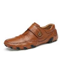 Big Size EU 45 46 47 Men Walking Shoes Genuine Leather Driving Shoes Slip On High