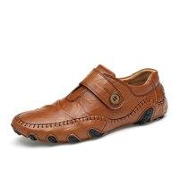 Big Size EU 45 46 47 Men Walking Shoes Genuine Leather Driving Shoes Slip On High