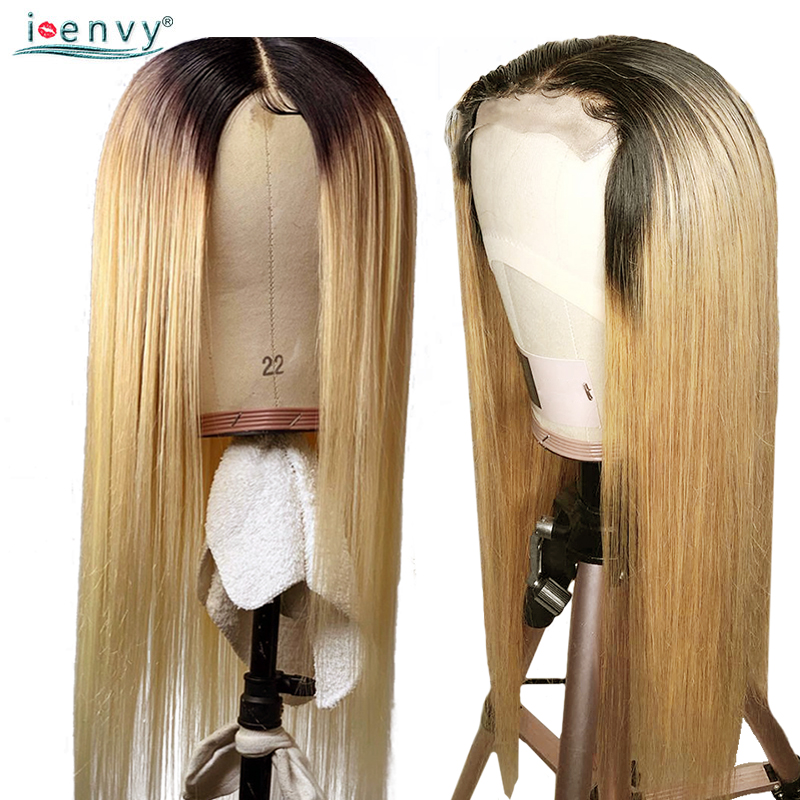 1B 27 Ombre Honey Blonde Lace Front Wigs Human Hair Long Straight Human Hair Wigs Blonde Brazilian Wigs For Black Women Nonremy