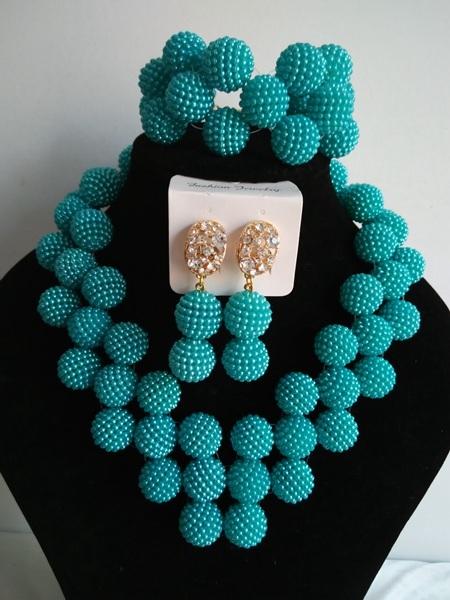 Perlas africanas joyería conjunto 2016 perlas africanas boda nigeriano trullo verde collar de perlas de plástico para las mujeres ABF304