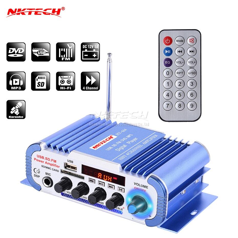 NKTECH HY-604 Car Audio High Power Digital Amplifier 4CH X 45W Hi-Fi Player With MIC Karaoke Reverberation Support FM SD DVD MP3