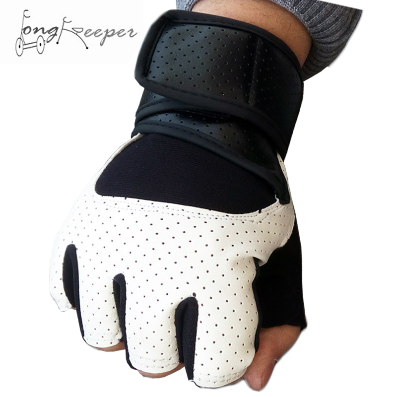 Long Keeper Fingerless Gym <font><b>Gloves</b></font> PU Leather Weightlifting <font><b>Gloves</b></font> Sponge Pad Shockproof Cycling Motorcycling Biking <font><b>Gloves</b></font>