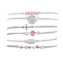 6Pcs/Set Fashion Women Elegant Beads Bracelet Charm Cross Braceletes Female Party Jewelry Gift Accessories P10