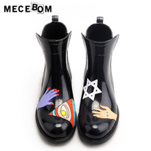 Women boots fashion printed ankle rainboots waterproof slip-on quality women shoes rubber bottom size 35-40 001w
