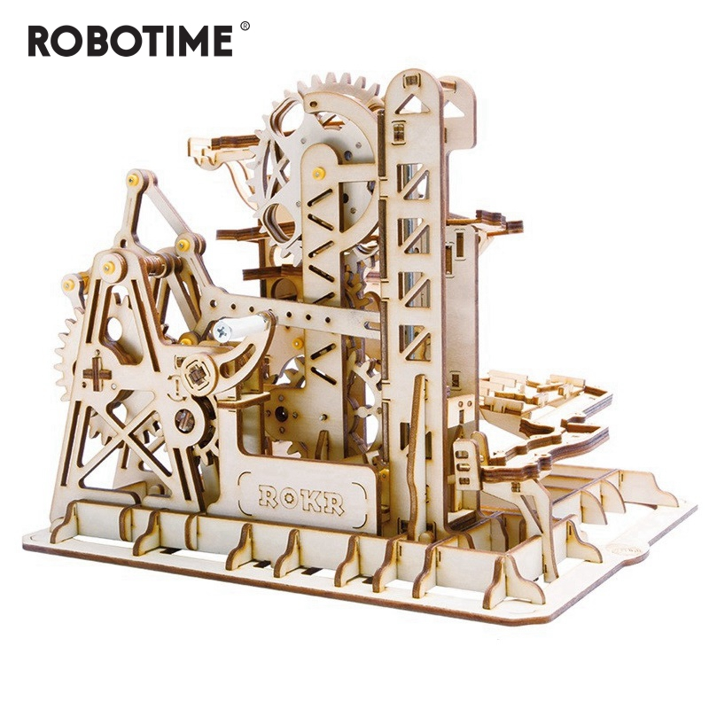Robotime DIY Tower Coaster Magic Creative Marble Run Game Wooden Model Building Kits Assembly Toy Gift