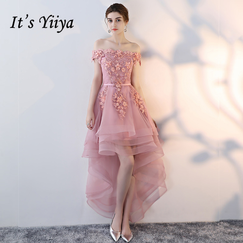 It's Yiiya Prom Dresses Girls Boat Sleeveless Flower Asymmetrical Fashion Prom Gowns Party Dresses Formal Dresses LX902