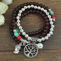 New arrival synthetic garnet stone and tibetan silver multilayer friendship bracelet with owl flower bear bell charms