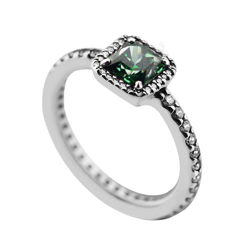 Timeless Elegance แหวนสีเขียวและ Clear CZ แหวนแฟชั่นผู้หญิง DIY เครื่องประดับ 925 เงินสเตอร์ลิง Charms เครื่องประดับ