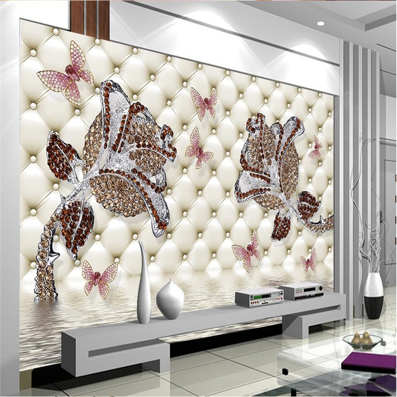 Beibehang Custom Wallpaper Any Size 3D Diamonds In Roses Water Reflection In The Back Of The Jewelry Wall 3d Wallpaper