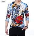 Dos homens de alta qualidade nova marca bordado homens 2016 moda 3D impressão Mens puxar Homme camisola fino confortável dos homens de lã blusas finas