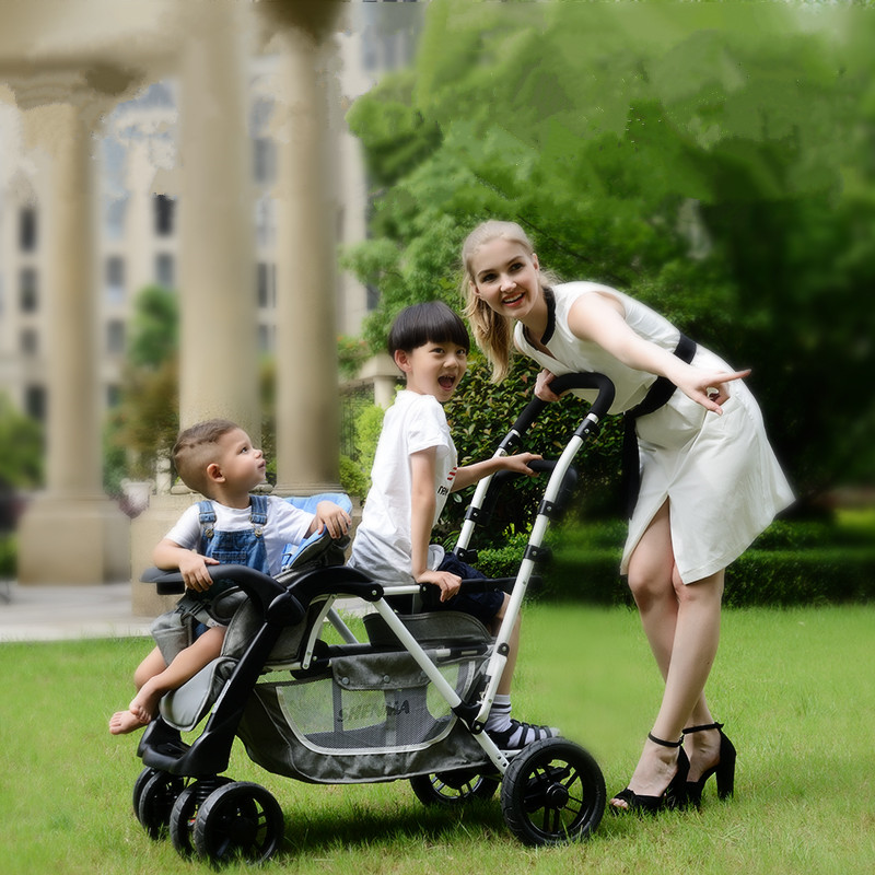 folded twins stroller, 2 kids stroller can sit front and back, portable twins umbrella cart, suit for 0-6ages twins carriage